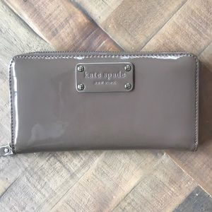Kate Spade Taupe Patent Leather Wallet